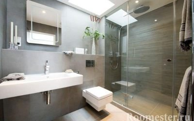 Interiøret i et moderne bad kombinert med toalett +20 bilder