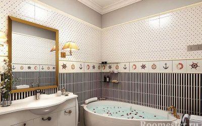 Conception de salle de bain avec baignoire d'angle - photo intérieure