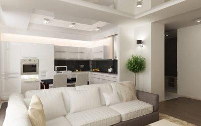 Design av et kjøkken-stue + foto kombinert interiør