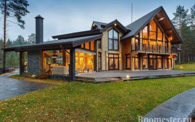 Interiøret i et hus laget av tømmer - designfoto etter rom
