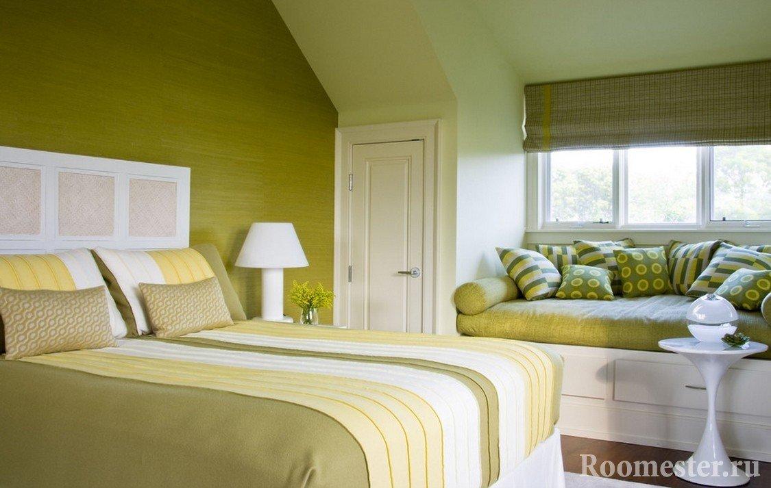 Olivenfarger soverom interiør