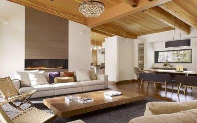 Finition d'un intérieur moderne avec du bois - idées de design sur la photo