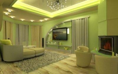 Pistasjfarge i interiøret og dets kombinasjoner på bildet