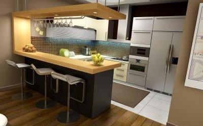 Reka bentuk dapur dengan kaunter bar - 80 gambar idea