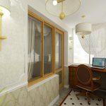 En studie på balkongen med et elegant interiør