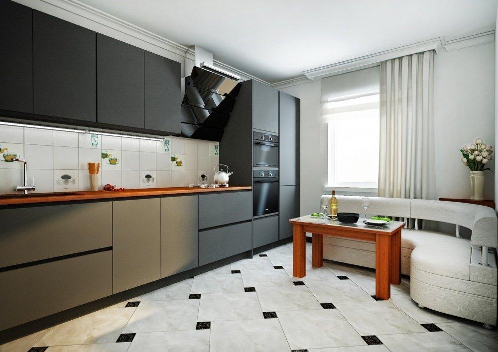 Meubles noirs et coin blanc dans la cuisine