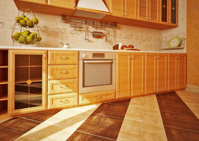 Plancher de cuisine bicolore