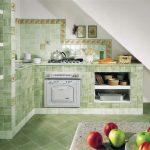Intérieur de cuisine vert clair
