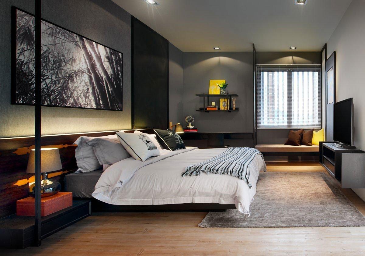 ห้องนอนสีเทาที่สวยงาม