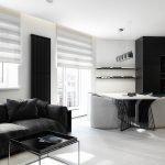 Podea albă și mobilier întunecat în apartament
