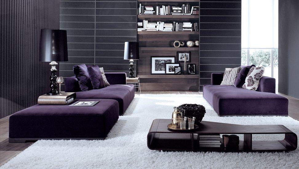 Mobilier violet în sufragerie