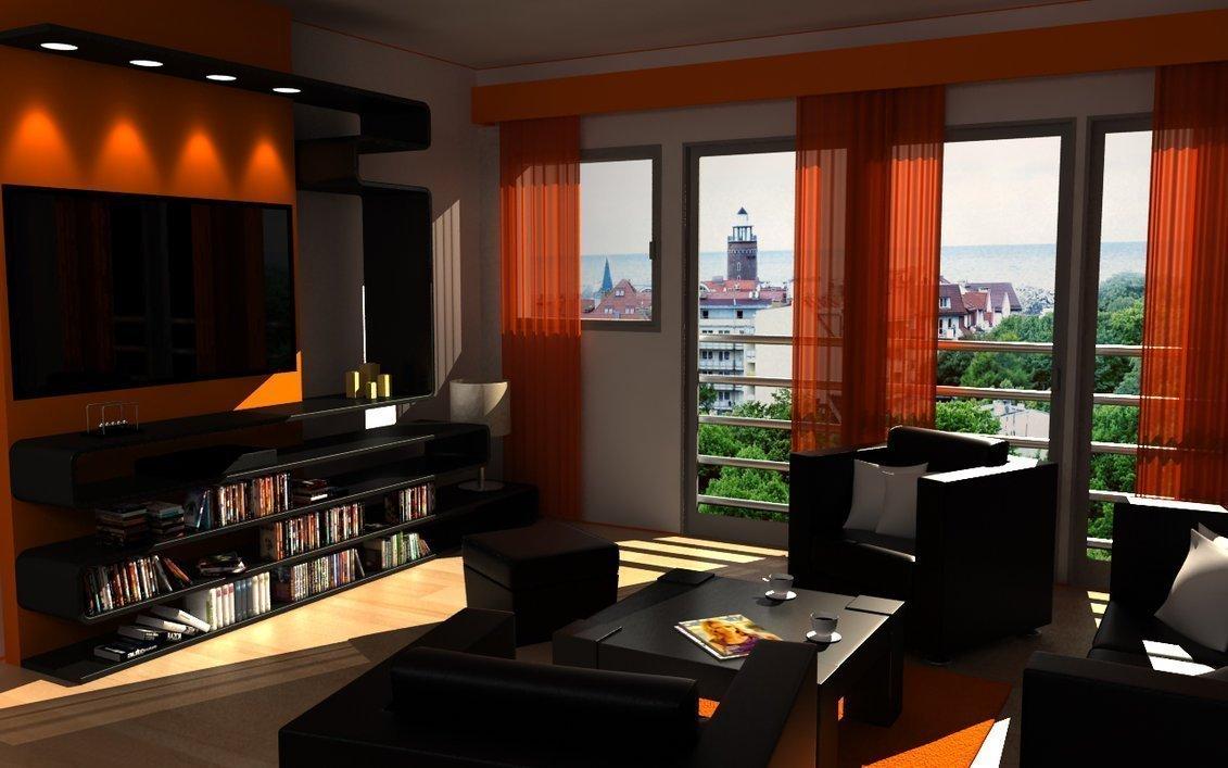 Mobilă închisă și perdele portocalii în sufragerie