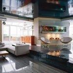 Studio apartment with stretch dark ceiling