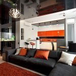 The spectacular decor of the kitchen-living room