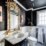Bathroom with dark walls and ceiling