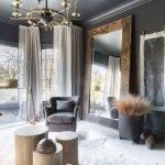 Dark gray ceiling in the room