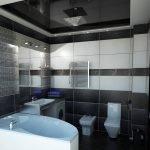 Bathroom with black stretch ceiling