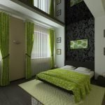 Green and black bedroom decor