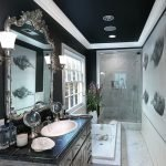Bathroom with a black ceiling in the house