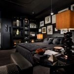 Black bedroom decor with a private house