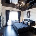 Glossy black attic ceiling