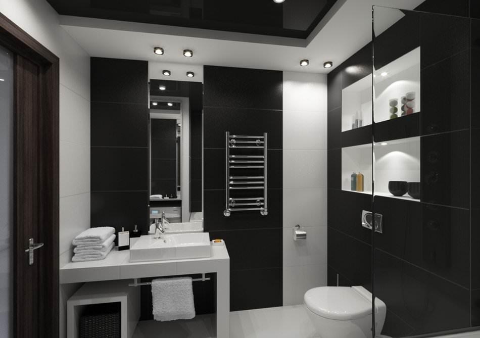 Black ceiling bathroom