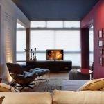 Cozy interior with a dark ceiling