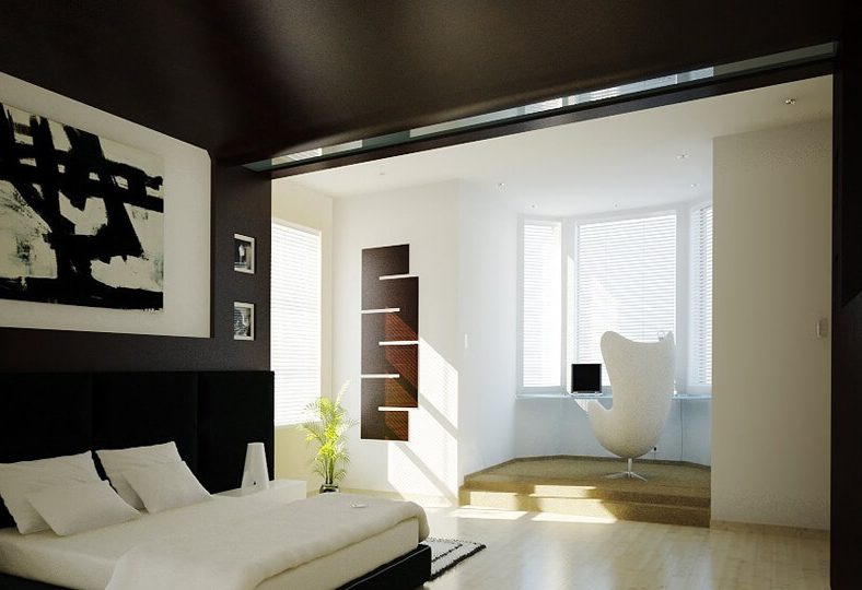 Cozy bedroom with black ceiling and walls.
