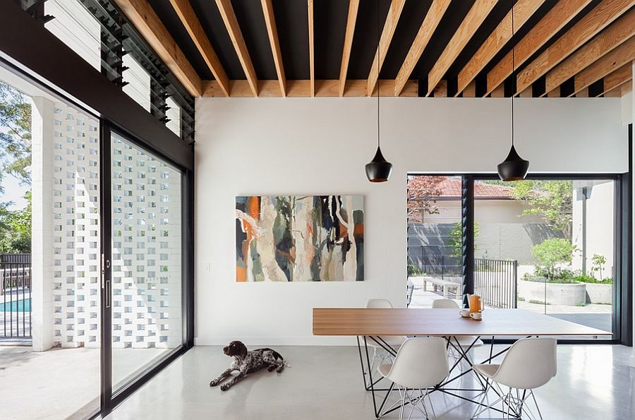 Black ceiling with wooden battens
