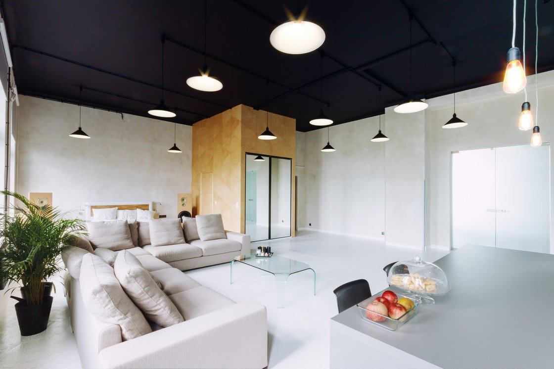 Living room with dark ceiling