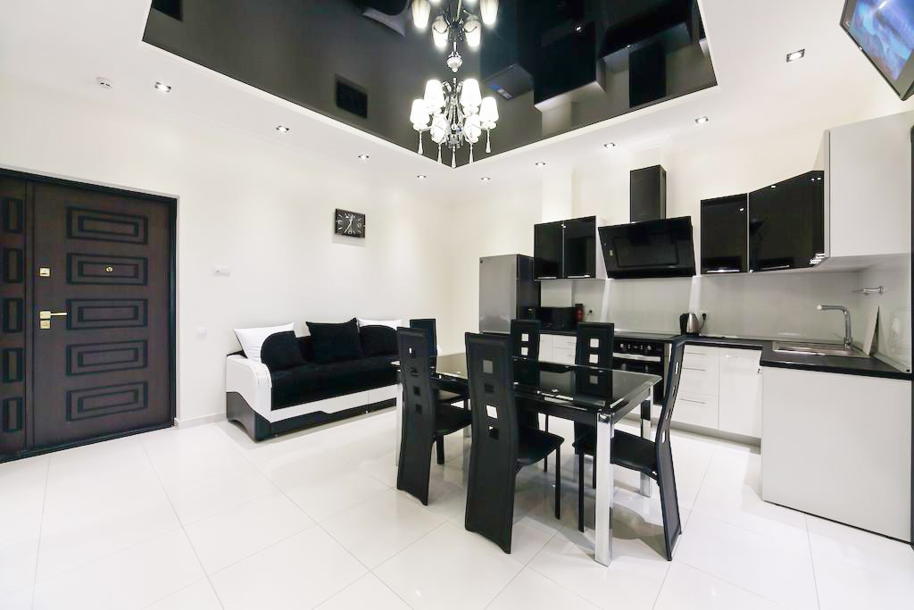 Glossy black ceiling