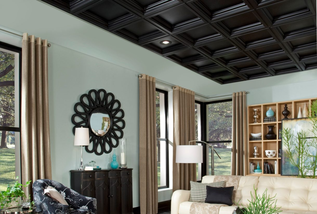 Wooden black ceiling in the living room