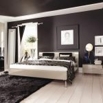 Bedroom with black ceiling