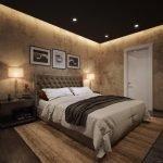Black ceiling in the bedroom
