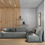 Rød lampe ved den grå sofaen