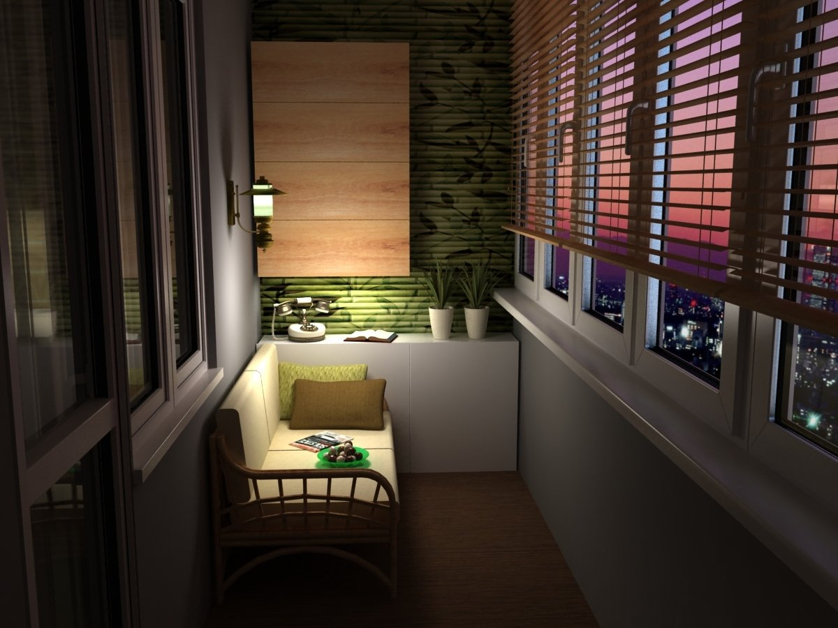Lampe over en sofa på en liten balkong