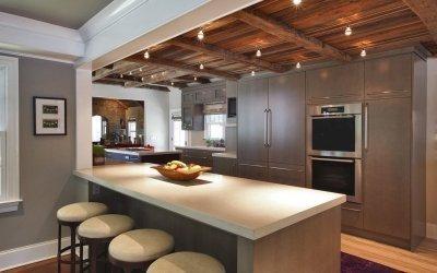 Conception de plafond dans la cuisine +50 exemples de photos