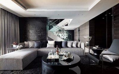 Black color in the interior: color combination ideas +75 photos