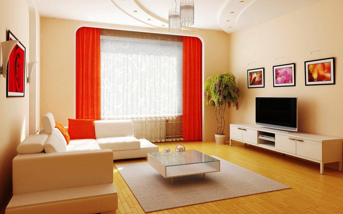 Rote Vorhänge im Wohnzimmer