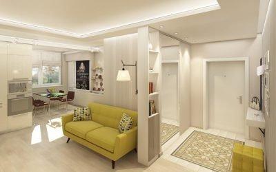 Couloir combiné avec salon: exemples de conception