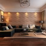 Salon avec plafond à plusieurs niveaux