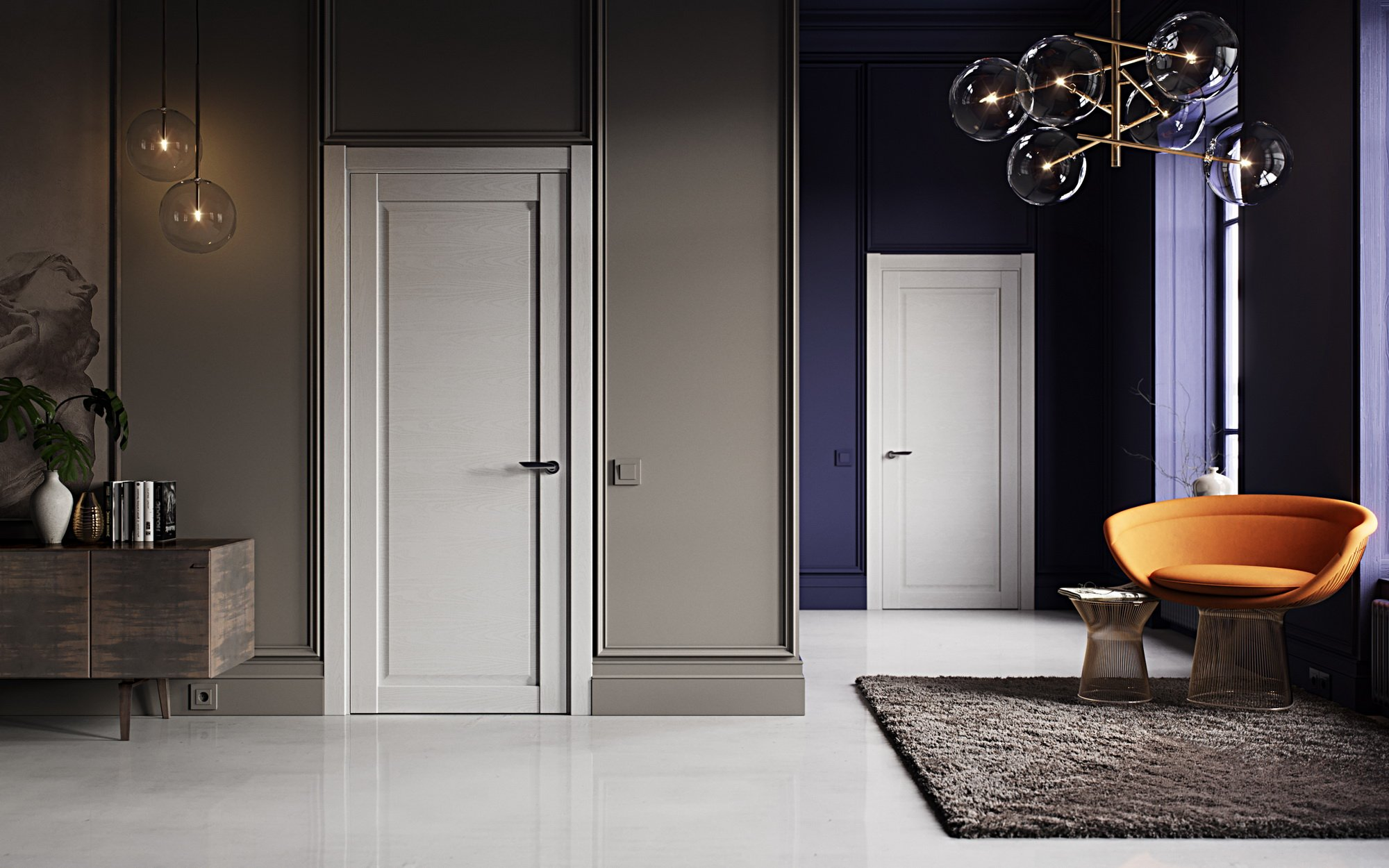 La combinaison de portes claires et de murs sombres à l'intérieur