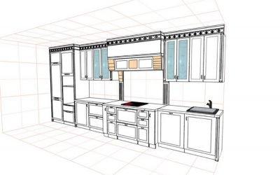Dessin de la cuisine aux dimensions de toutes les armoires: auto-conception