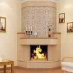 Carrelage beige pour cheminée