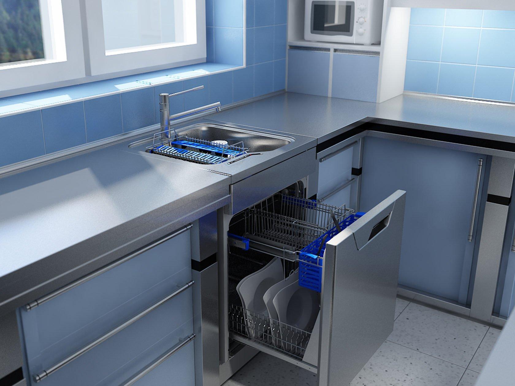 Petit lave-vaisselle étroit sous l'évier