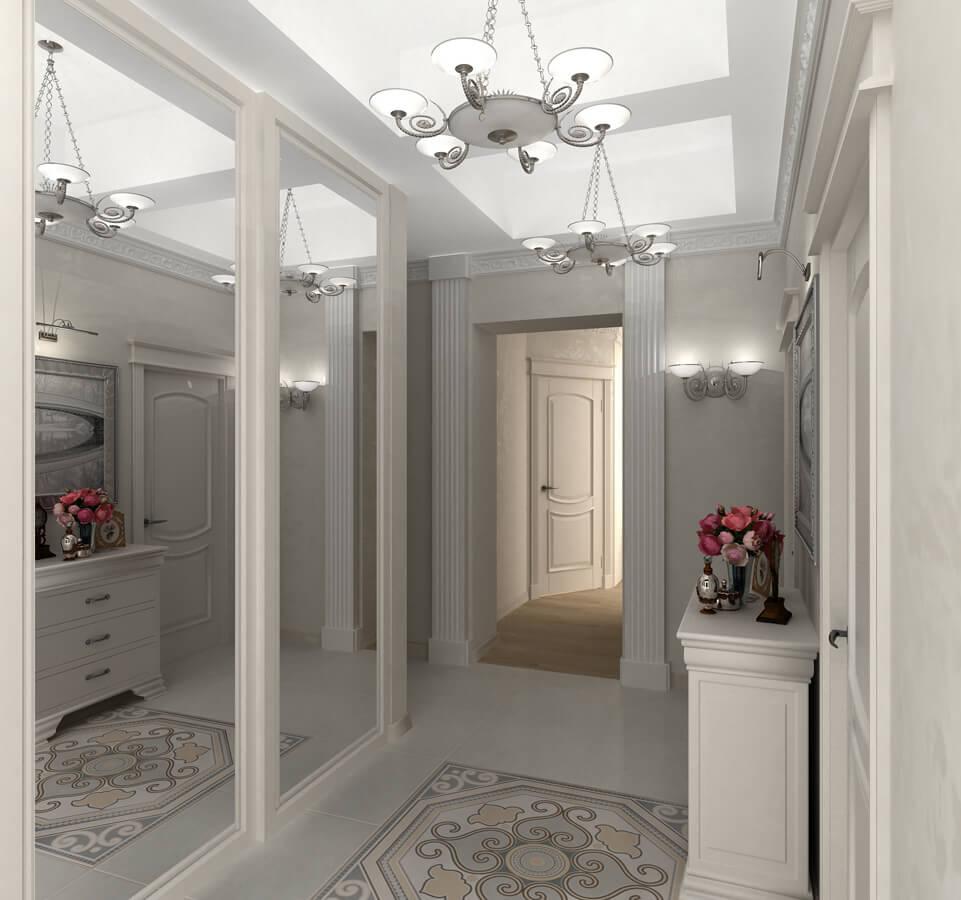Grands miroirs dans le couloir