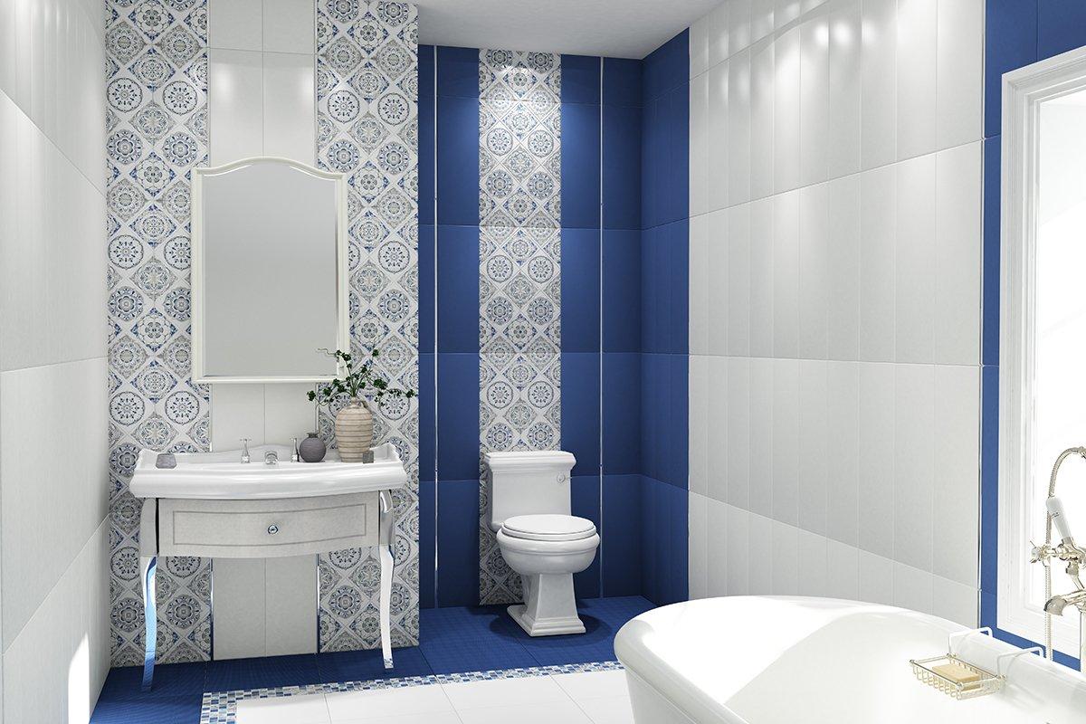 Tuiles blanches et bleues