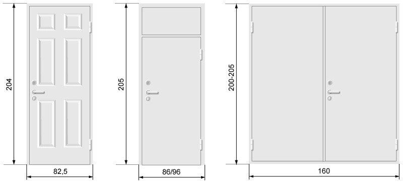 Dimensions de la porte d'entrée