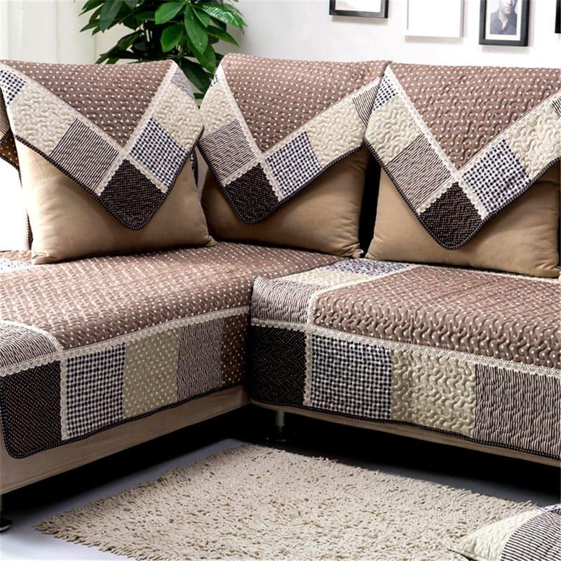 Couvre-lit en tissu de coton sur le canapé