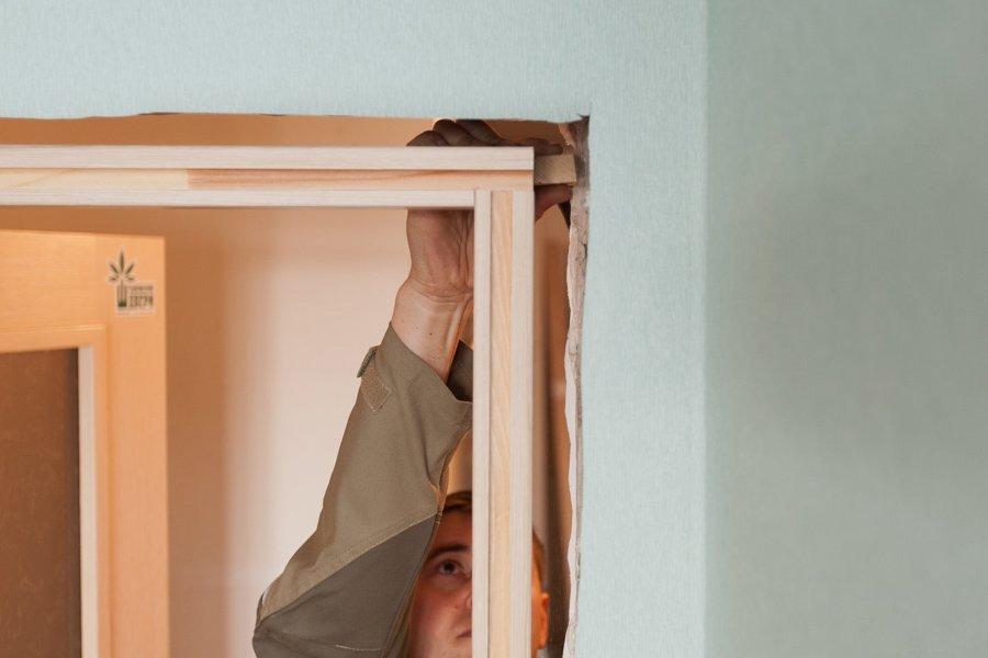 Préparation de l'installation de la porte